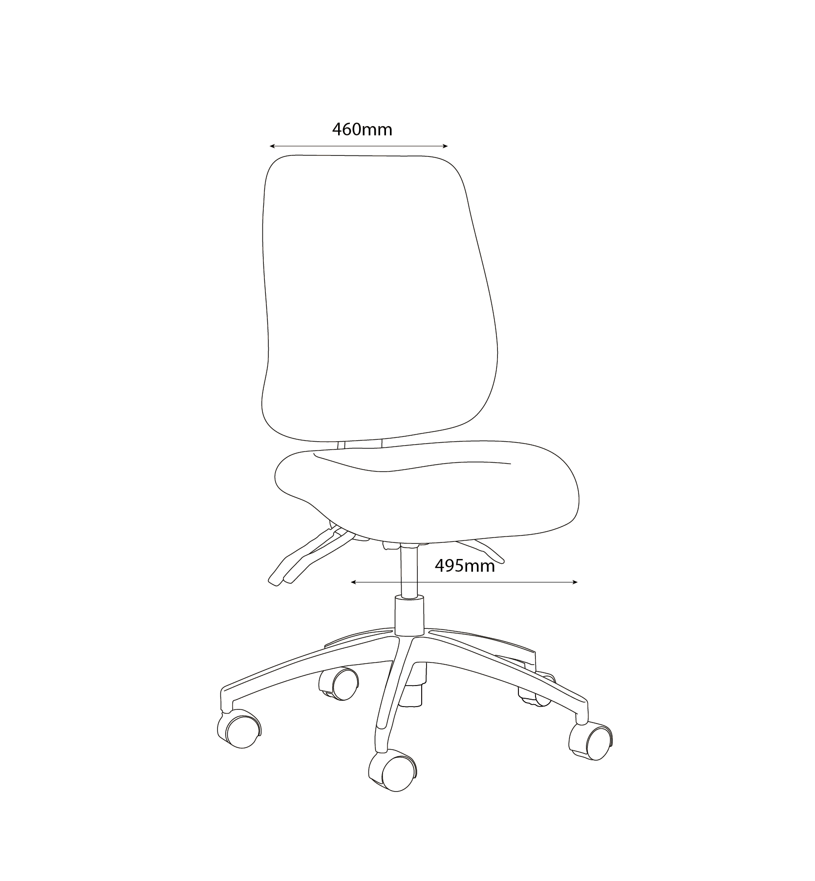 project W chair Front line drawing